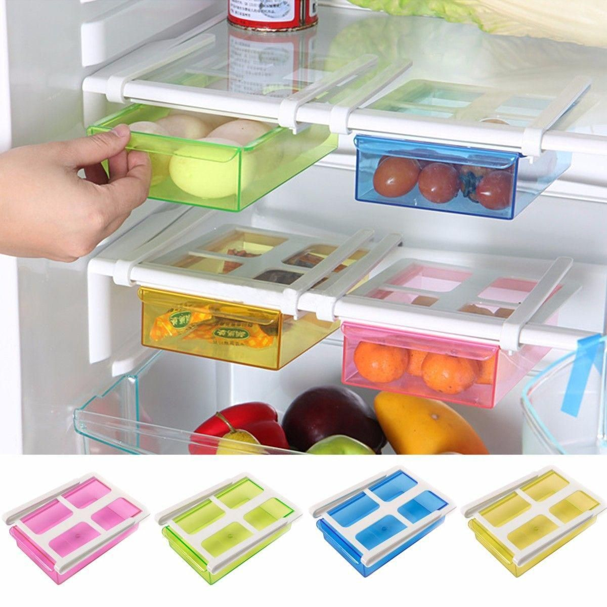 refrigerator racks. 4 color slide kitchen fridge freezer space saver organizer storage rack shelf box-in refrigerator racks v