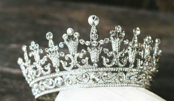 Full Bridal Crown, Swarovski Crystal Wedding Crown, PORTIA Silver Bridal Diadem, Crystal Wedding Tiara, Diamante Tiara, Bridal Tiara