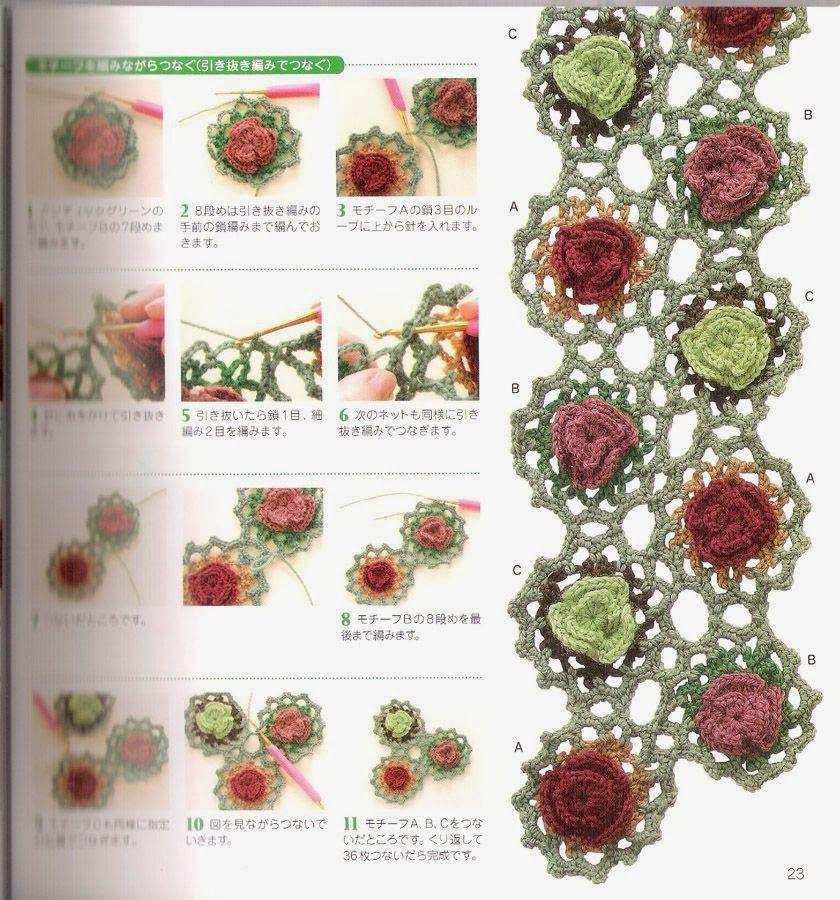 Patrones Crochet: Bufanda con Tiras de Flores Patron y Tutorial ...
