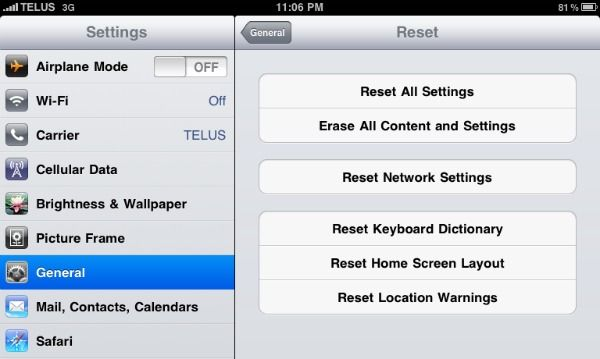 How to Delete All Data in iPad Homescreen, Airplane mode