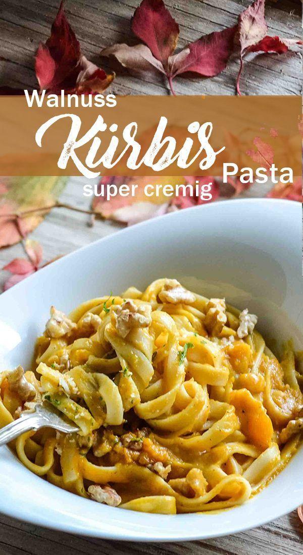 Pasta mit sehr cremiger Sauce aus Butternut-Kürbis #rezepteherbst