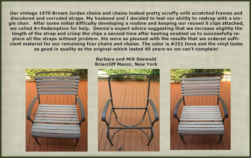 Vintage Brown Jordan Patio Furniture Repair Parts Vinyl Straps