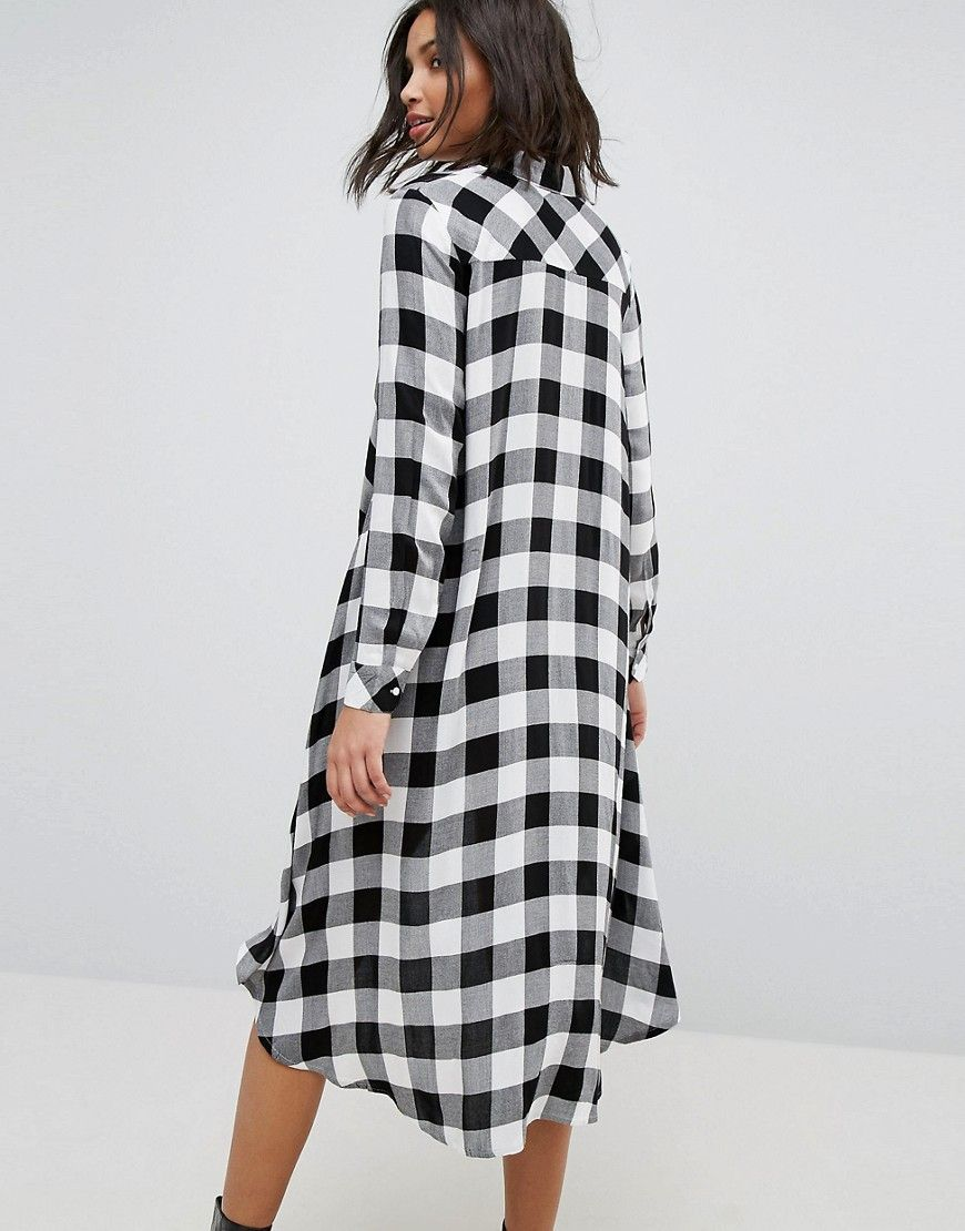 6c026f73614 Stradivarius Check Midi Shirt Dress - Black