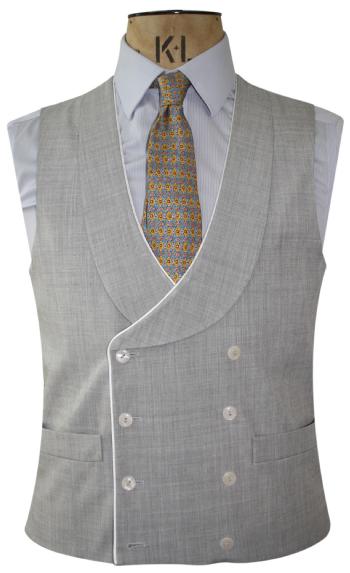 Double Breasted Ash Grey Linen Waistcoat