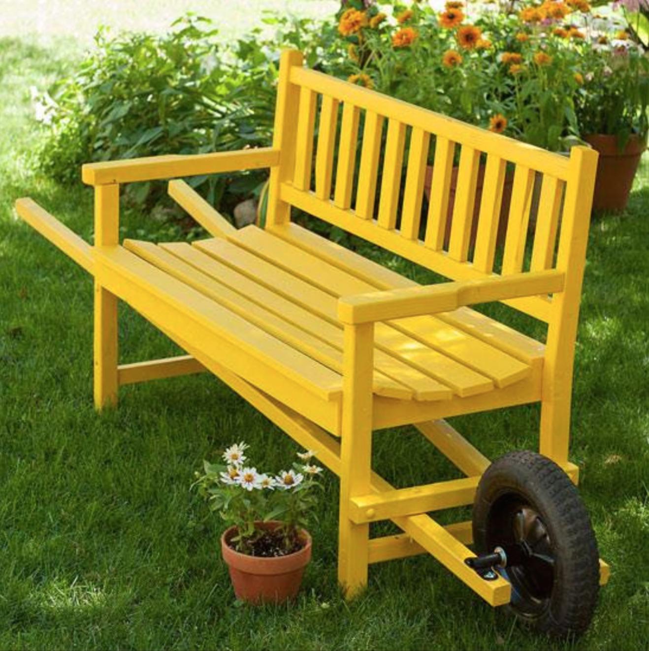Idées de génie banc jaune roue bancs duici et duailleurs