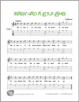 download and print mary had a little lamb beginner guitar sheet music tab free sheet music. Black Bedroom Furniture Sets. Home Design Ideas
