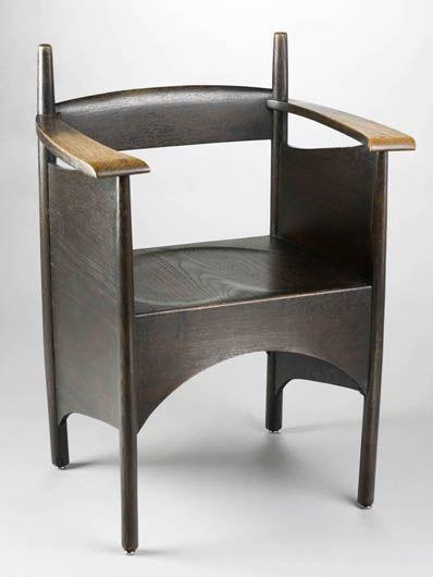 Charles Rennie Mackintosh; Oak Armchair for Francis Smith & Son, c1898.