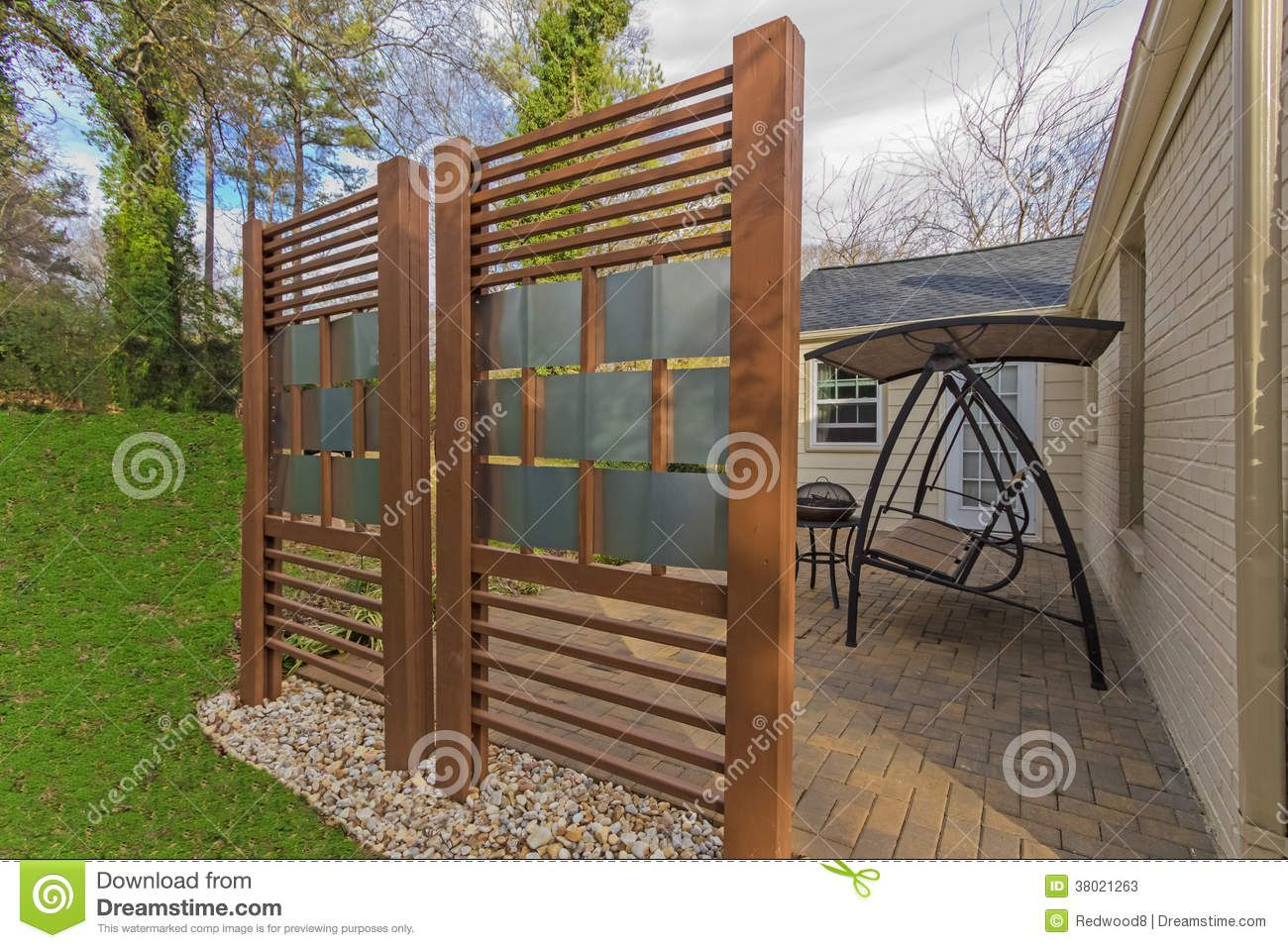 Privacy fence graphic two privacy fences made made with for Rustic outdoor privacy screens