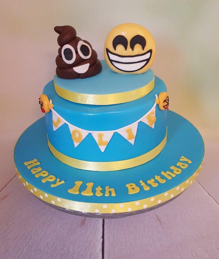 Emoji Birthday Cake Poo And Smiley Topper Handmade From Fondant