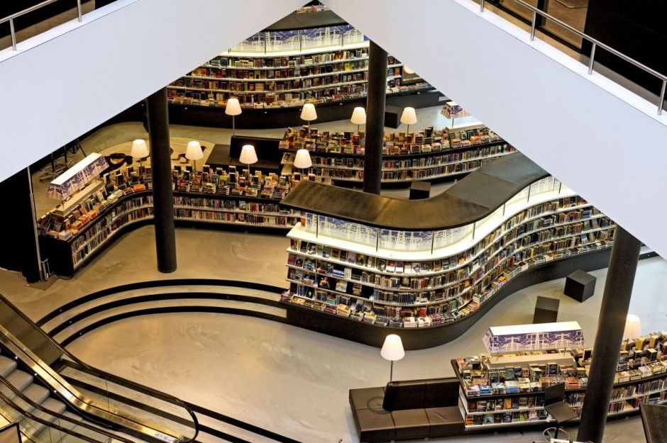 Library Design | Almere Library, Netherlands | Train Track Shelving ...