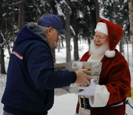 Santa receives letters from north pole postman curt haase in north santa receives letters from north pole postman curt haase in north pole alaska in spiritdancerdesigns Image collections