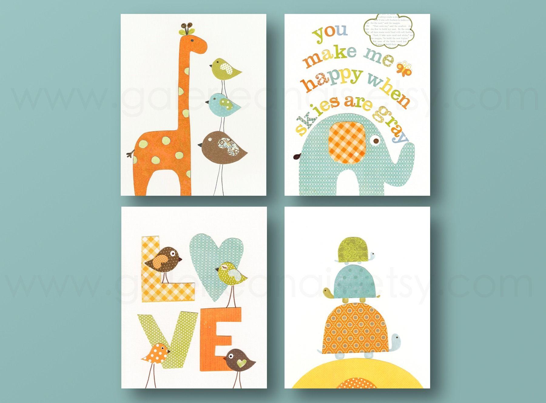 Lot de 4 illustrations sur papier pour chambre d 39 enfant et - Illustration chambre bebe ...