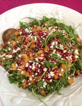 Butternut Squash, Pomegranate, & Arugula Salad   FoodieGoesHealthy.com Perfect Thanksgiving dinner salad.