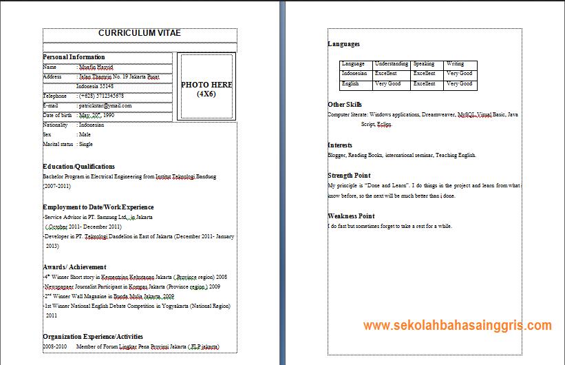 Contoh Cv Dalam Bahasa Inggris Yang Menarik Cv Curriculum