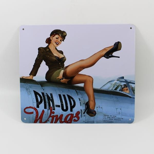 vintage sexy girl pinup wings airplane tin sign air force