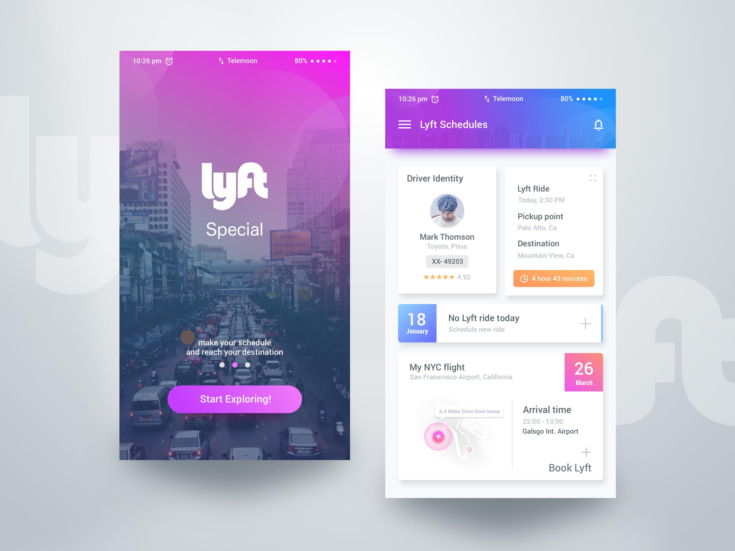 Lyft advance book – User interface by Rifayet Uday