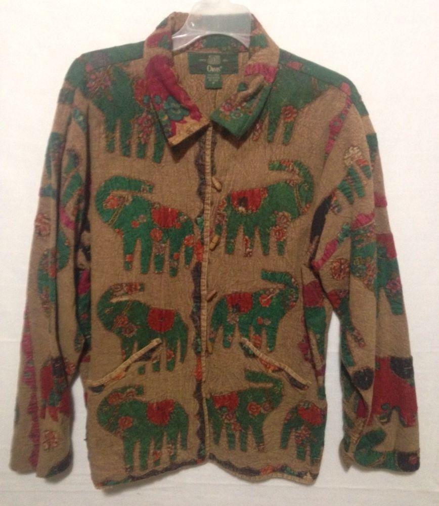 Orvis Elephant Safari Brown Green Pattern Jacket Size Medium #Orvis #BasicJacket