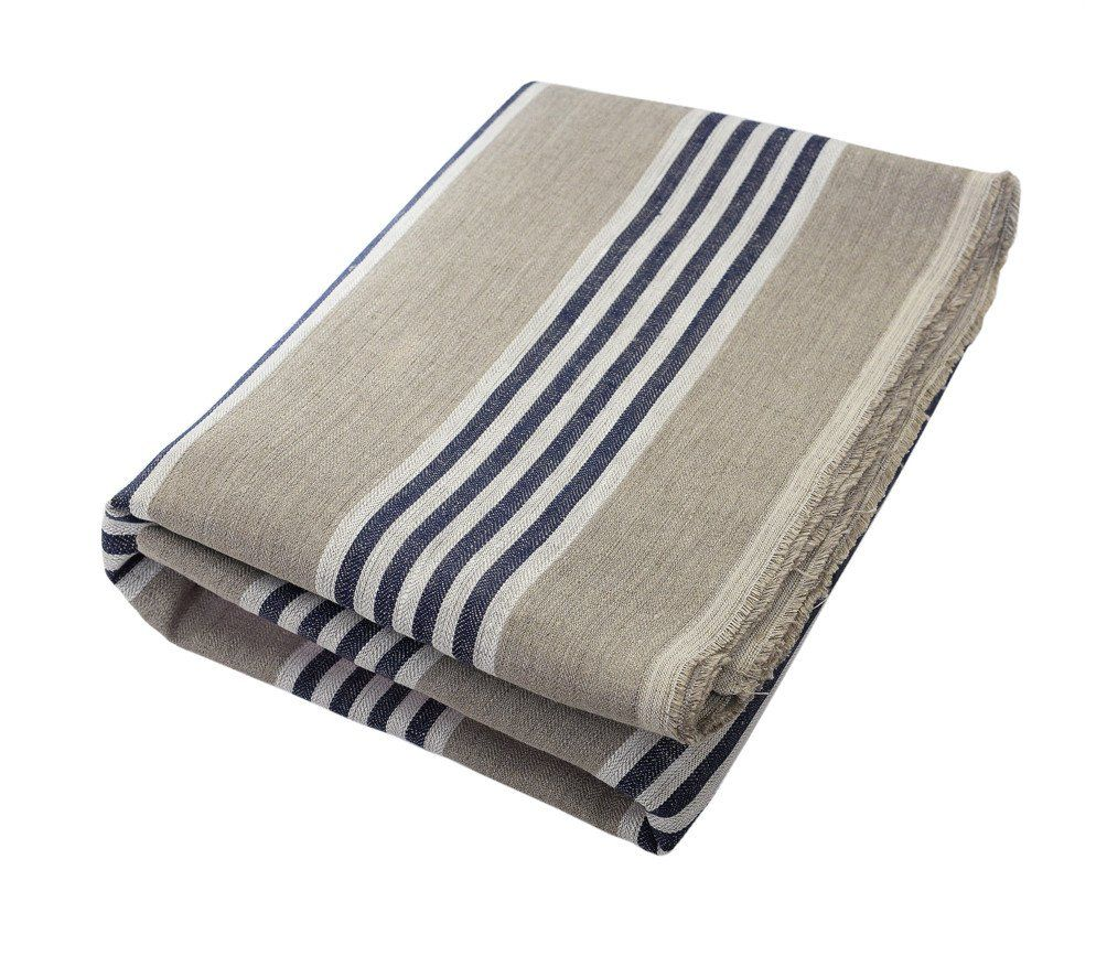 Mathieu Oatmeal White And Navy Blue Stripe Beach Towel Beach