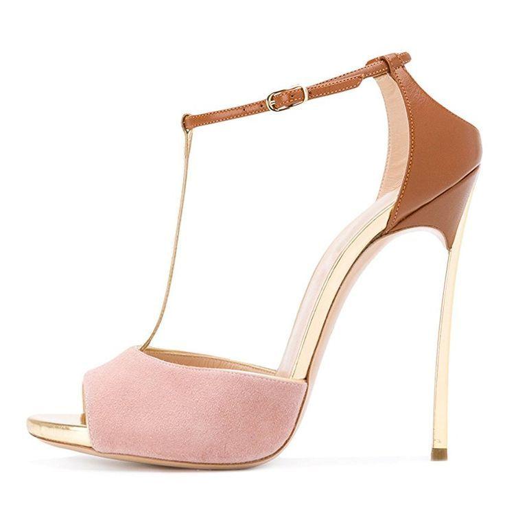 198adc93547f1a Damen Sandalen Peep Toe High-Heels Stiletto T-Spange Knöchelriemchen  Hochzeit
