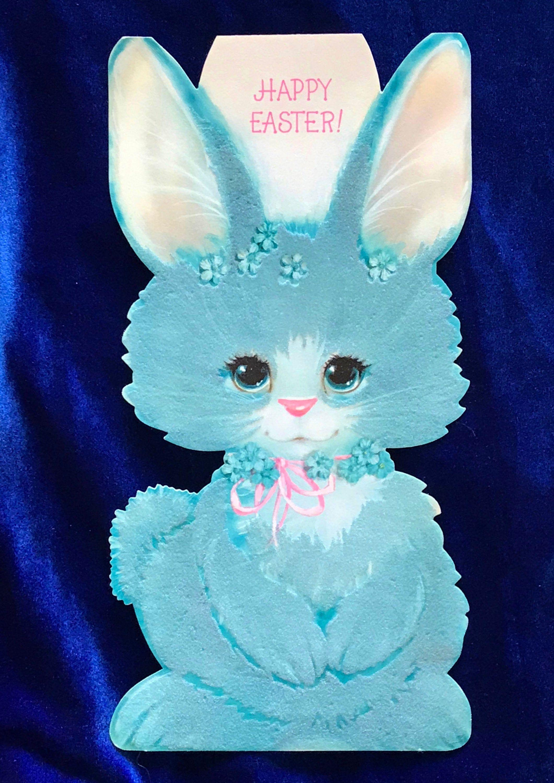 Blue bunny hallmark easter large card 1960s flocked