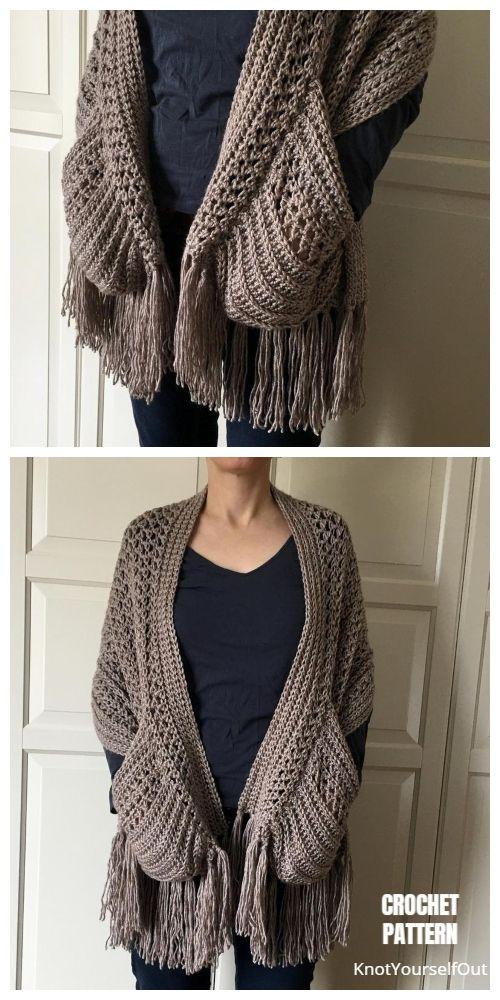 Pocket Scarf Shawl Free Crochet Pattern & Paid