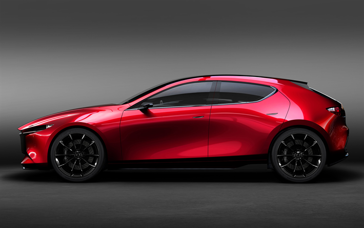 Download Wallpapers Mazda 3 2019 Hatchback Concept New Car Side