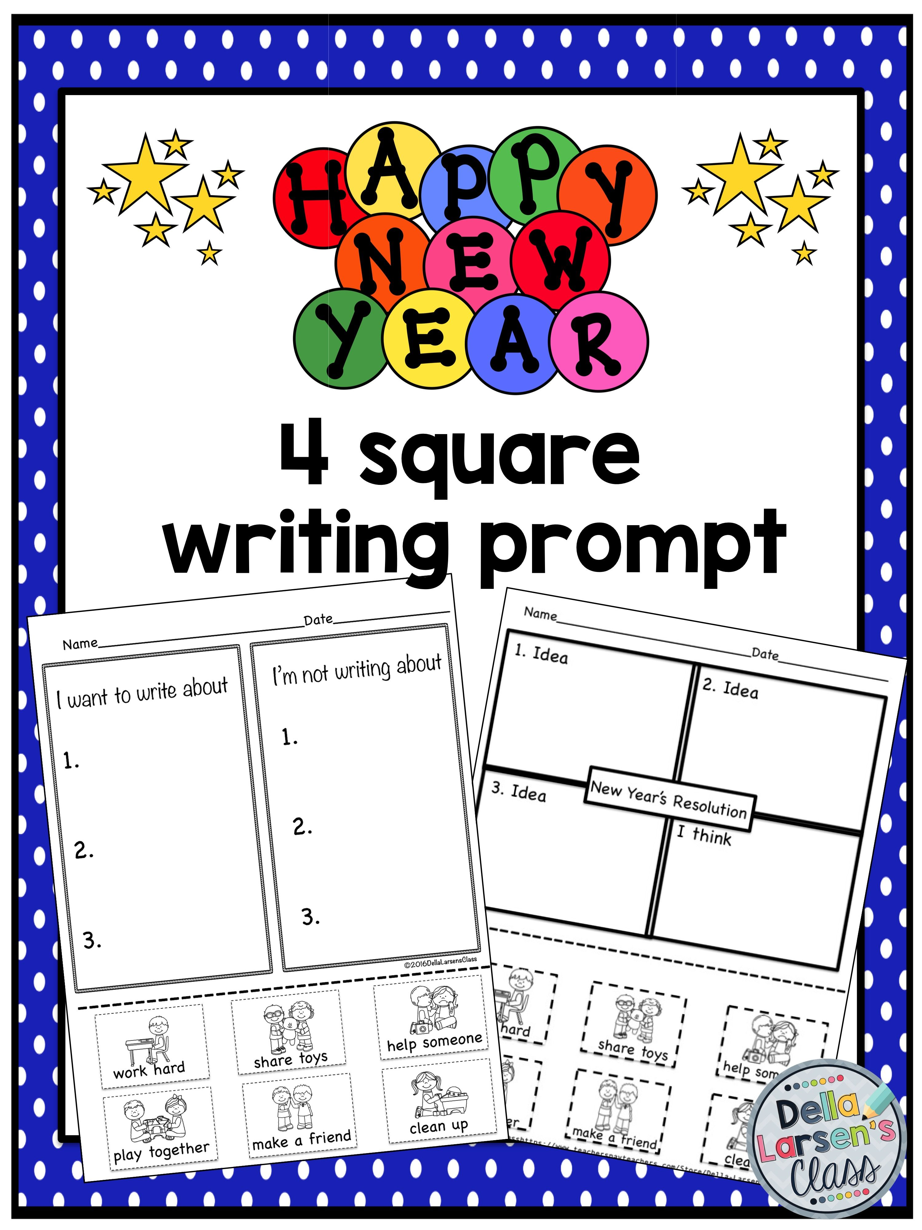 New Year S Resolution 4 Square Writing Prompt For