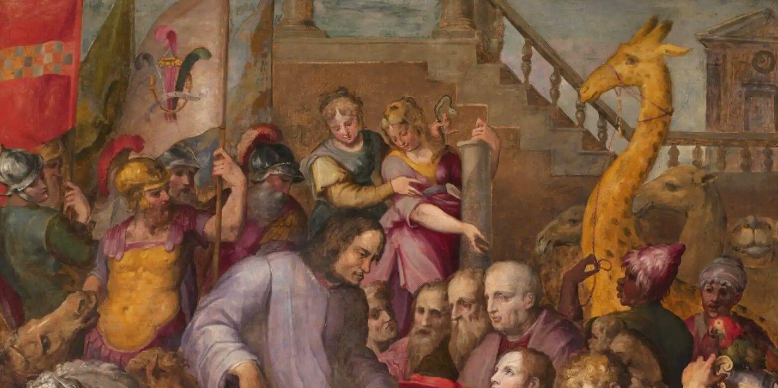 Giorgio Vasari - Lorenzo il Magnifico riceve l'omaggio degli ambasciatori  (Il Camelopardo di Lorenzo), 1560 ca   Pittura, Ricevimenti