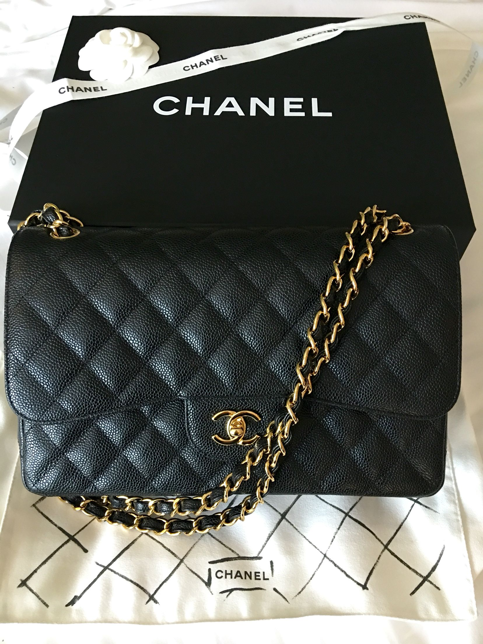 a7aff360b6809d My second Chanel Chanel classic flap Jumbo in caviar with Gold Hardware