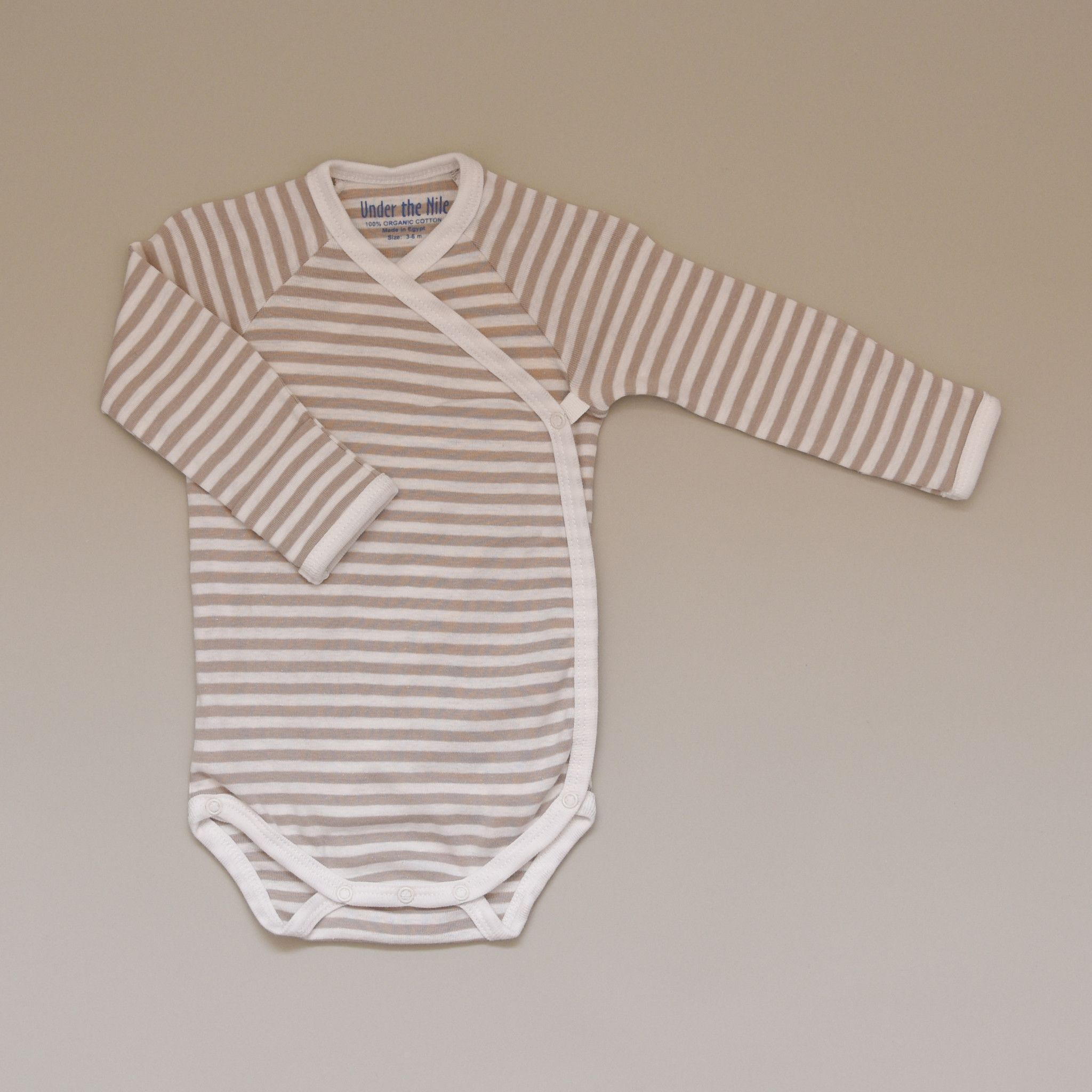 ddbb6627fe 100% Organic Cotton Baby Long Sleeve Tan and White Striped Bodysuit Onesie