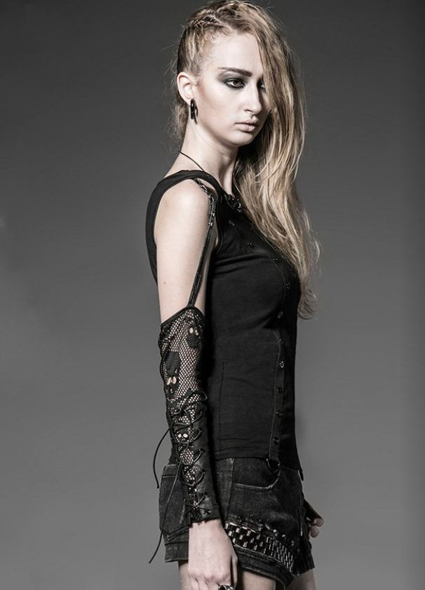 Skull Mesh Sleeve Strap Eyelet Top Vampirefreaks Gothic Clothing Cyber