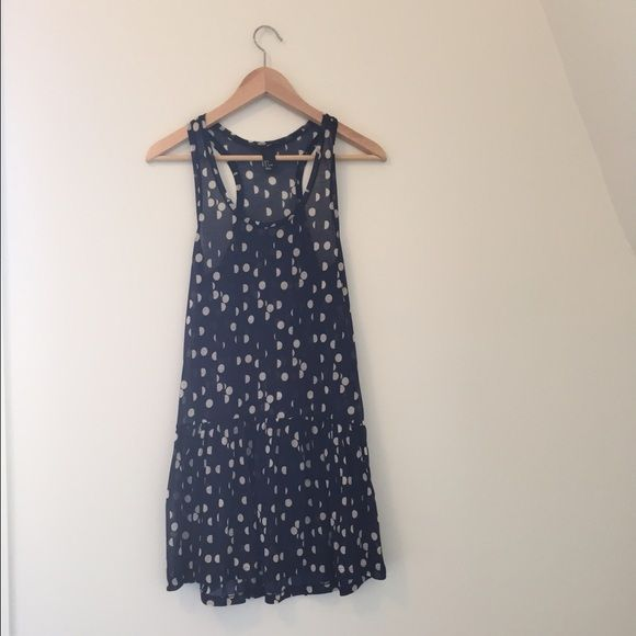 H&M Sheer blue and white polka dot dress Navy blue and white sheer polka dot dress. Racer back and scoop neckline. Worn only a few times, excellent condition. Please note that you do need a slip underneath the dress as it is sheer. H&M Dresses Mini