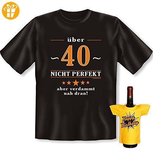 Geburtstags Set T-Shirt + Mini für die Flasche <-> über 40 nicht perfekt  <-> Schwarz, ein kleines lustiges Geschenk Goodman Design® (*Partner-Link)