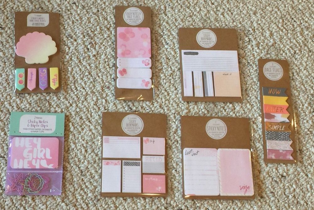 8f4a044233d Offered for sale is a Lot of 7 Target One Spot Stationary items  (1) 5  Count Sticky Notes and Page Flags