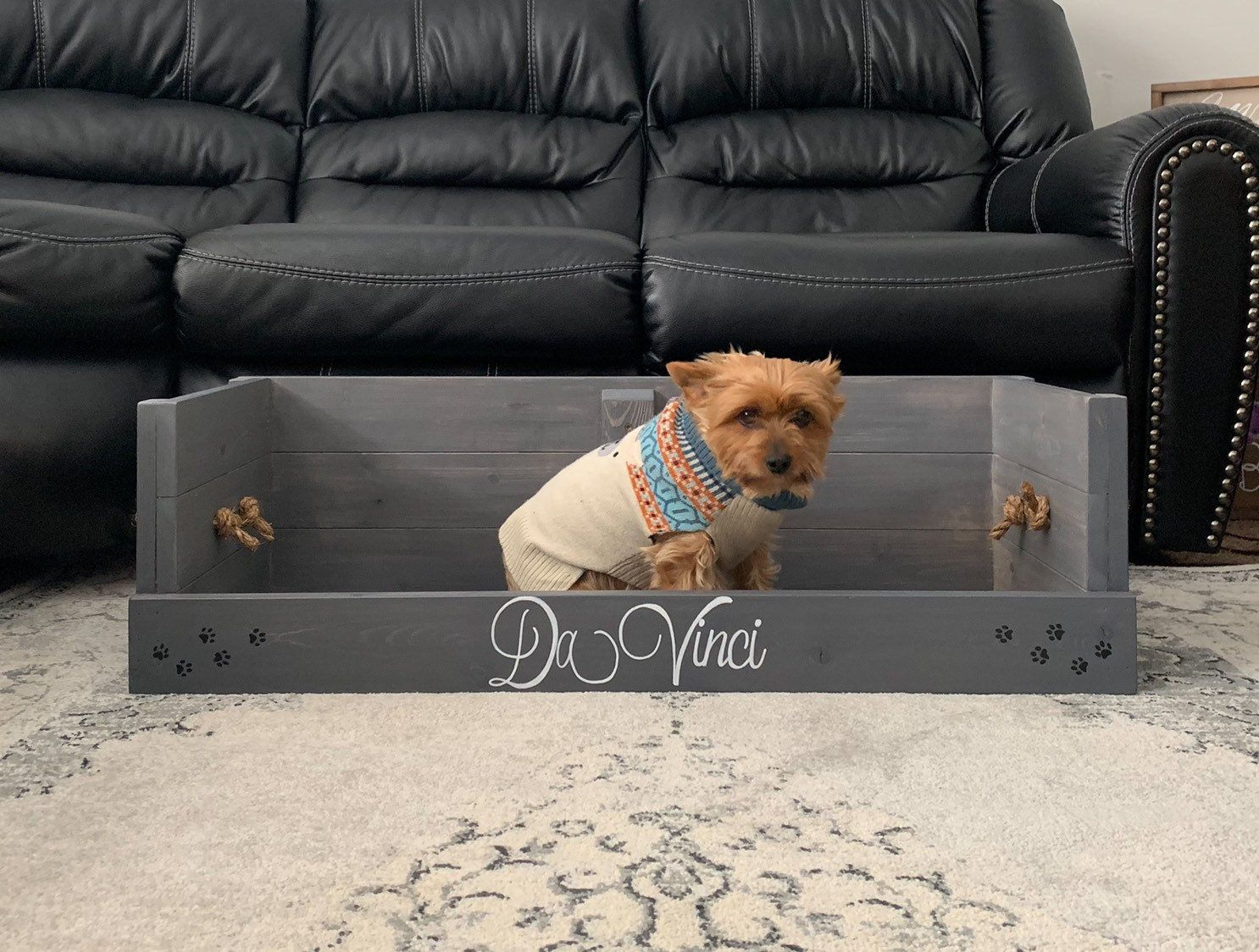 Personalized Rustic Stained Wood Small Dog Toy Storage Box Bed