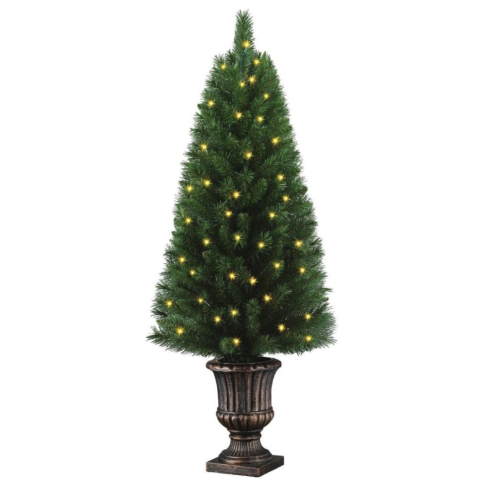 Home Accents Holiday 4 Ft Potted Artificial Christmas Tree With 50 Clear Lights Tyt 14048 1 The Home Depot Artificial Christmas Tree Potted Christmas Trees Christmas Tree