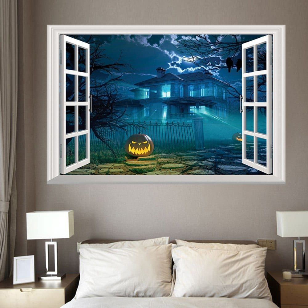 Halloween 3D Window Gruesome Castle Wall Sticker - Halloween Decorations For The Office