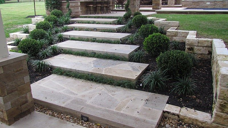 Back Yard Stairs Patio Pavers Outdoor Living Areas