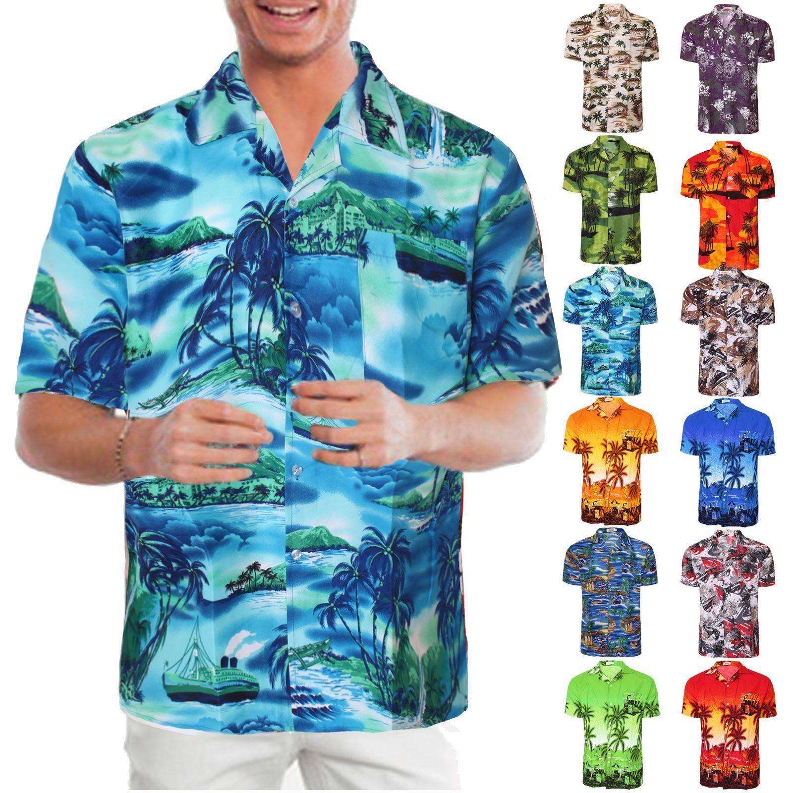 Hawaiian Mens Shirt Floral Rockabilly Surf Beach Party Holiday Stag ...