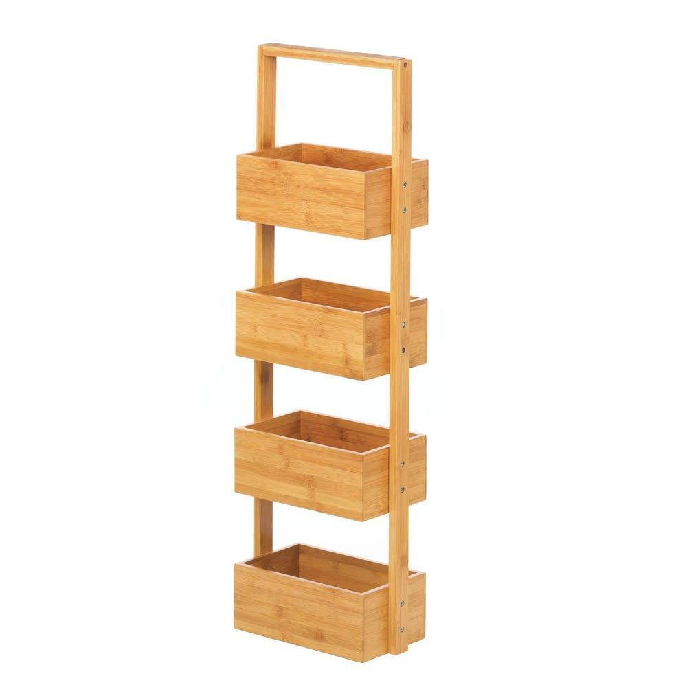 Rectangular Spa Tower - Bamboo Get your bathroom organized in style with  this striking bamboo tower. The natural finish makes it a modern accent and  the ...