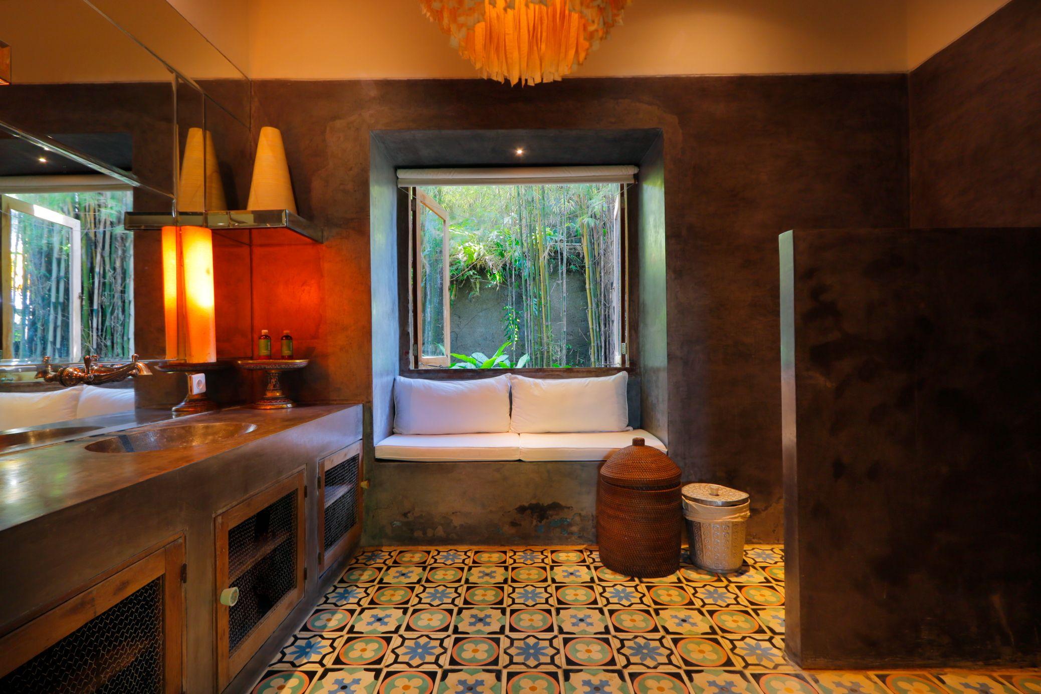 Lalaland Villa, Canggu, Bali Guest Room Bathroom Sitting Space Interior