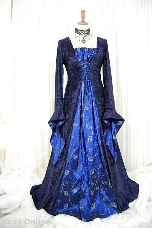 Medieval pagan wedding prom dress gown lotr hand fasting for Blue gothic wedding dresses