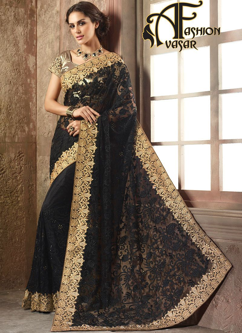 Passion homes borders gold zardozi border handmade designers - Black Net Saree With Golden Border Appear Stunningly Desirable In This Black Net Saree