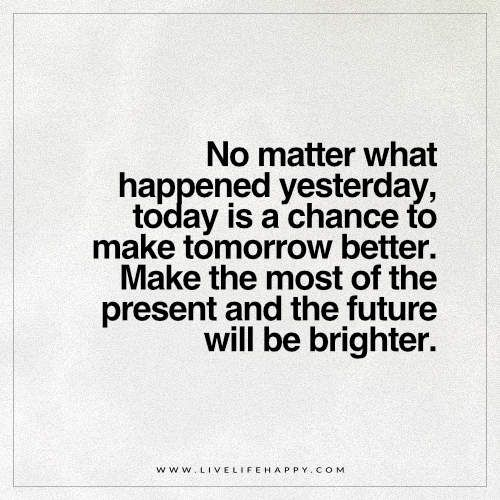 No Matter What Happened Yesterday Today Is A Chance Bright