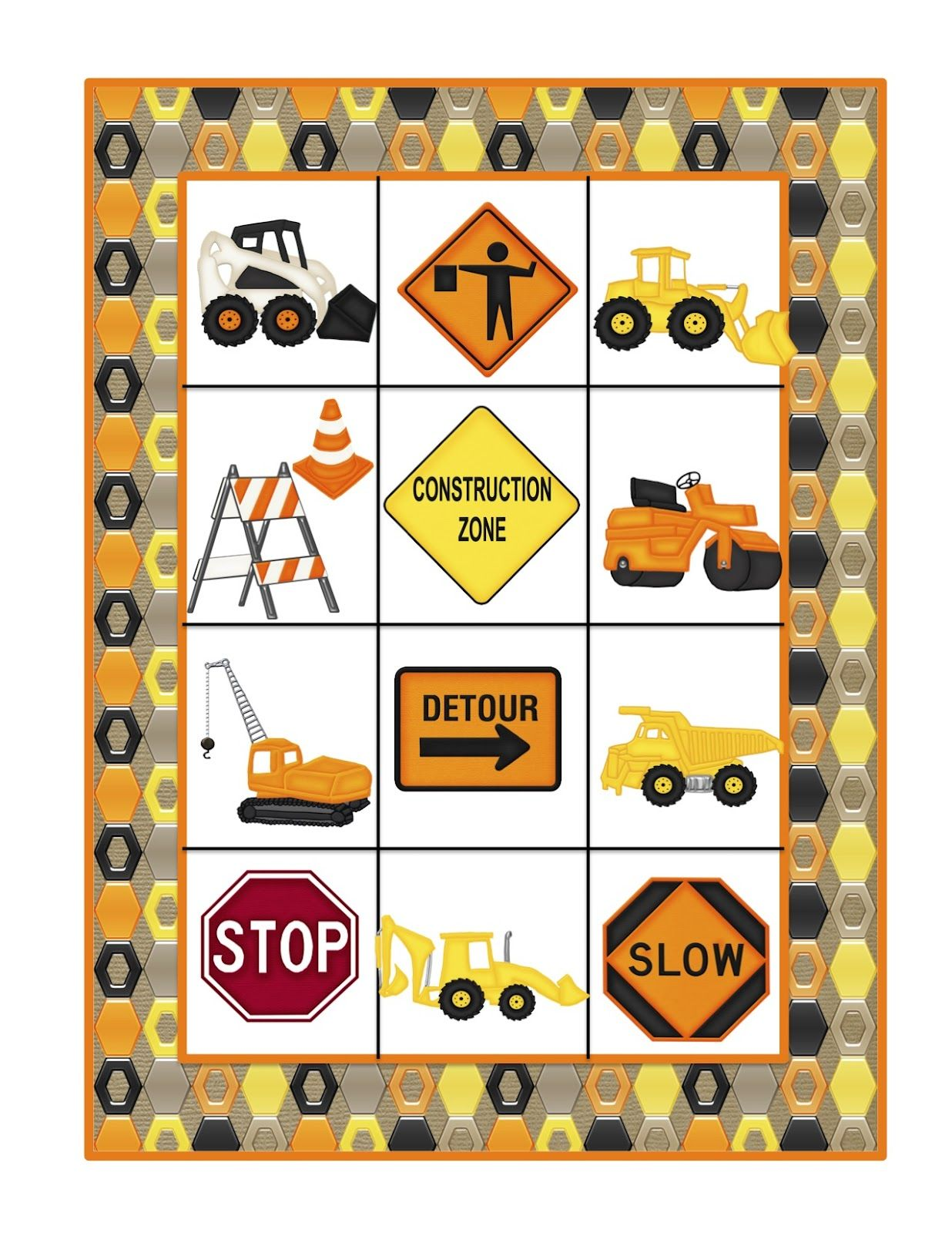 Preschool Printables Construction Machines Large Cards