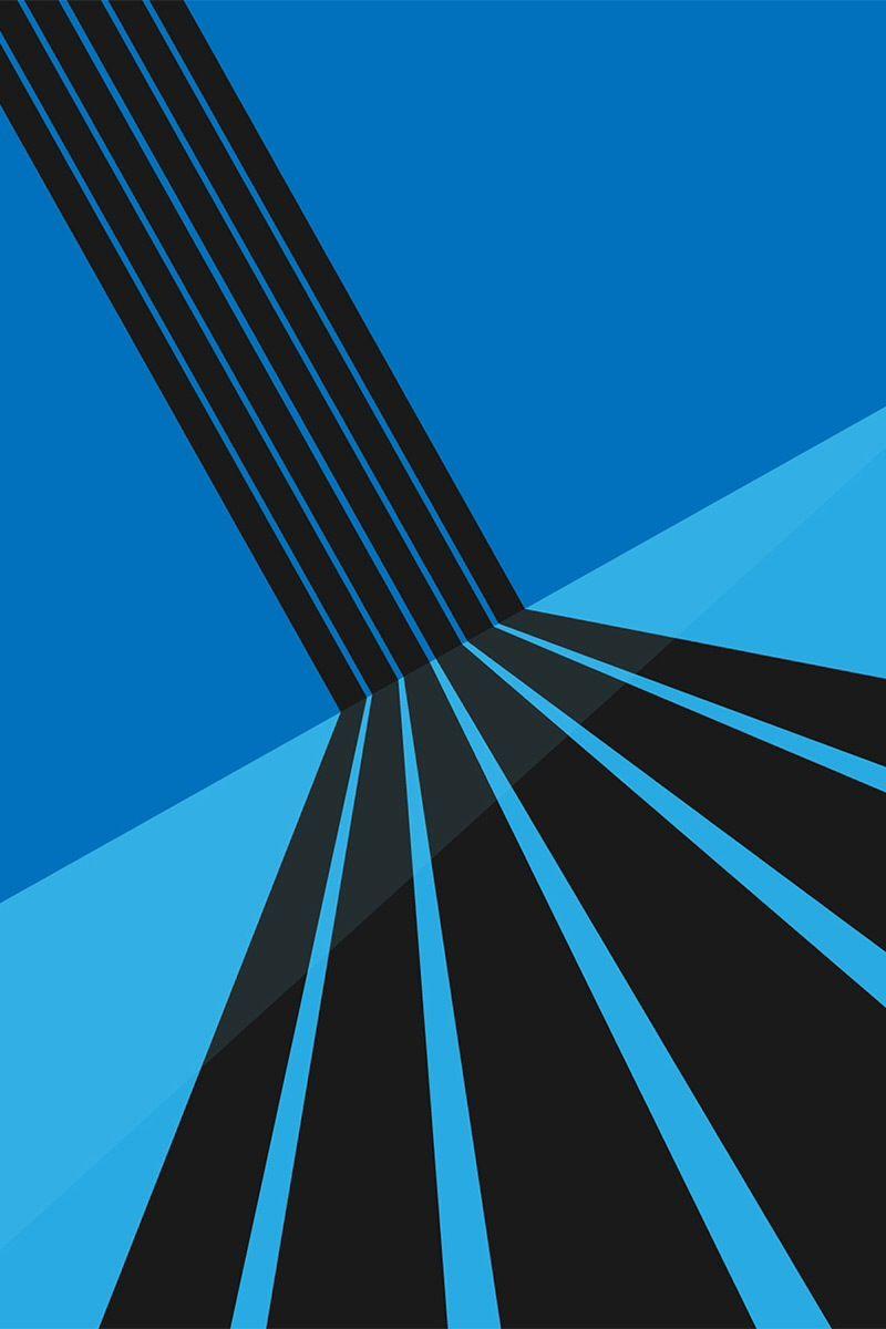 Unicolor Blue Black Geometric Lockscreens Stripes 3D HD IPhone 5 Wallpaper