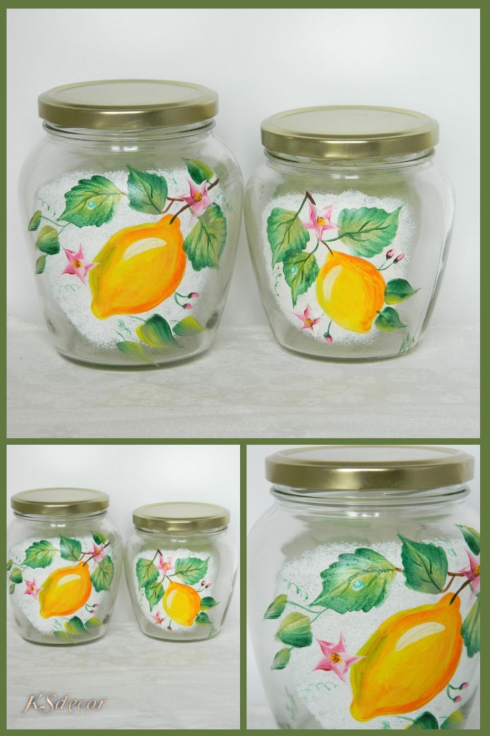 Hand Painted Glass Jars With Lid Jam Pot Kitchen Canister Set Etsy Painting Glass Jars Glass Jars With Lids Decorative Glass Jars