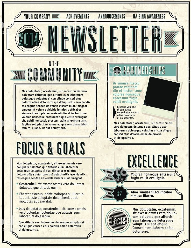 Vector illustration of a Company Newsletter design template ...