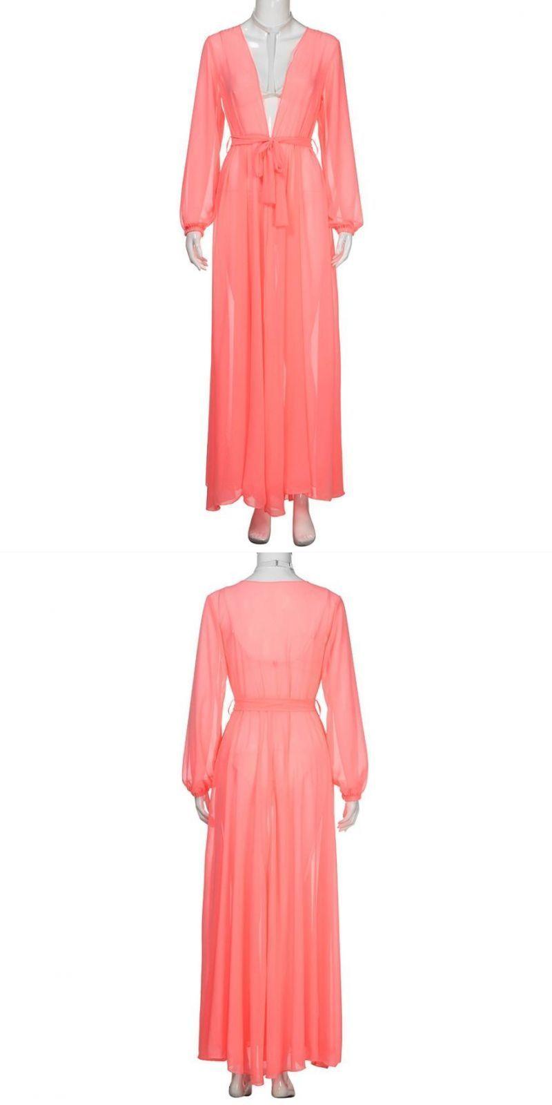 1dc8fec395 Beach dresses swimwear long sleeve mesh bikini chiffon cover-up sexy women  beach dress swimwear summer shawl swimsuit   cc  solid  polyester  fits   true  to ...