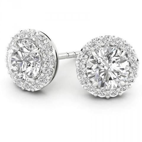 14 Karat White Gold 0 50 Carat Total Weight Round Diamond Halo Earrings The Center